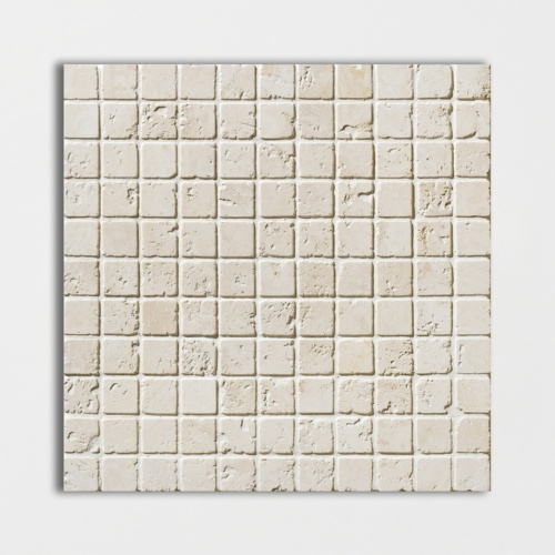 Ivory Tumbled 1×1 Travertine Mosaics 12×12