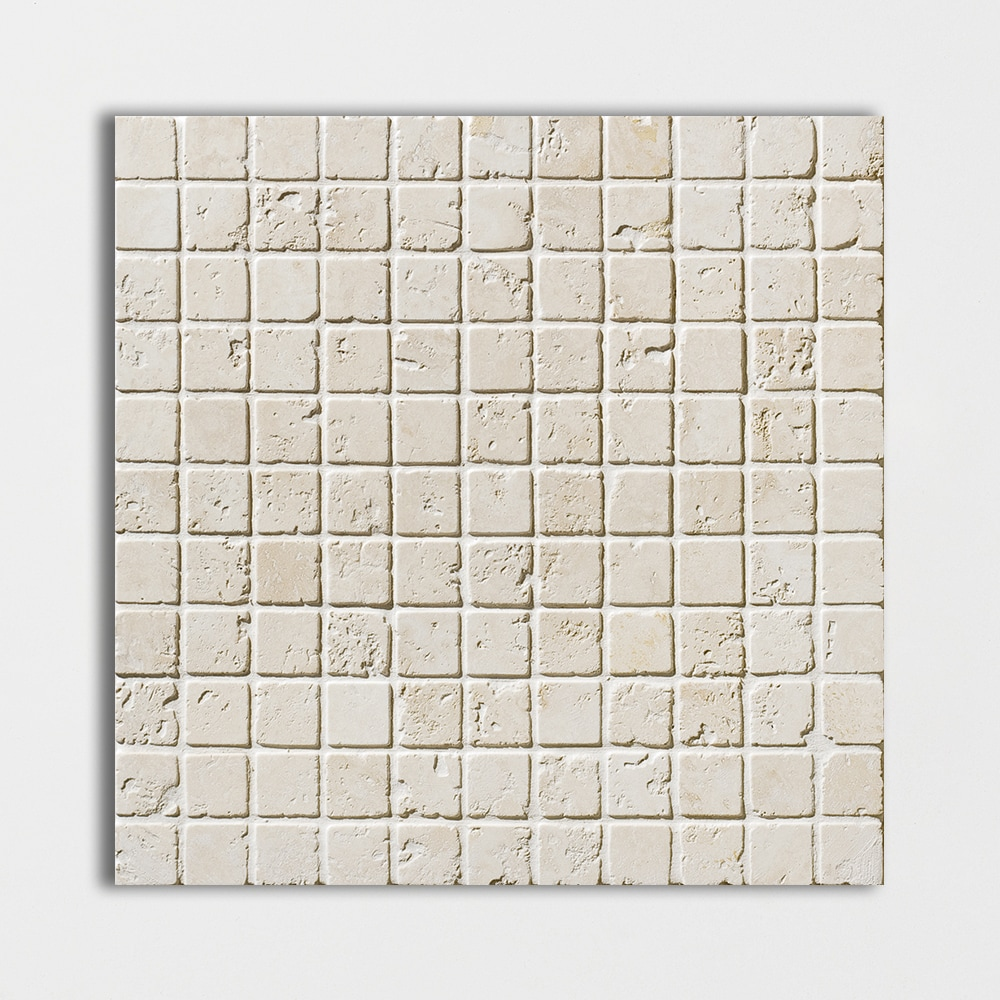 Ivory Tumbled 12x12 1x1 Travertine Mosaics