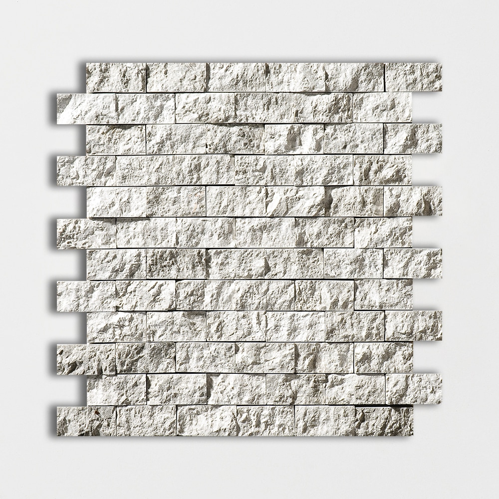 Silver Shadow Rock Face 1x2 Marble Mosaics 12 5/8x12 5/8