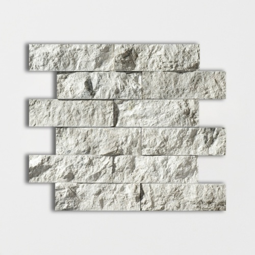 Silver Shadow Rock Face 2×6 Marble Mosaics 12×14
