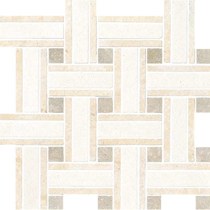 Champagne Polished 12x12 Lattice Limestone Mosaics