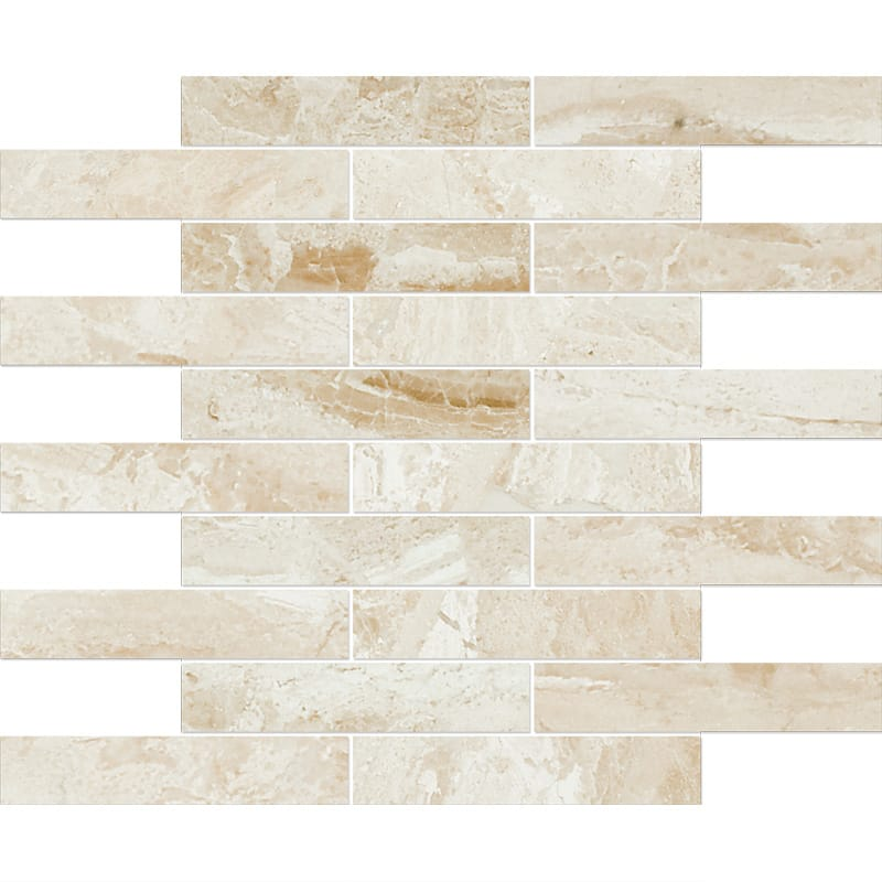 Diana Royal Polished 12x12 1 1/4x6 Marble Mosaics