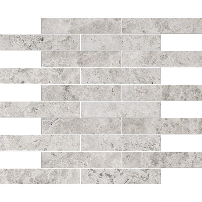 Silver Shadow Honed 12x12 1 1/4x6 Marble Mosaics