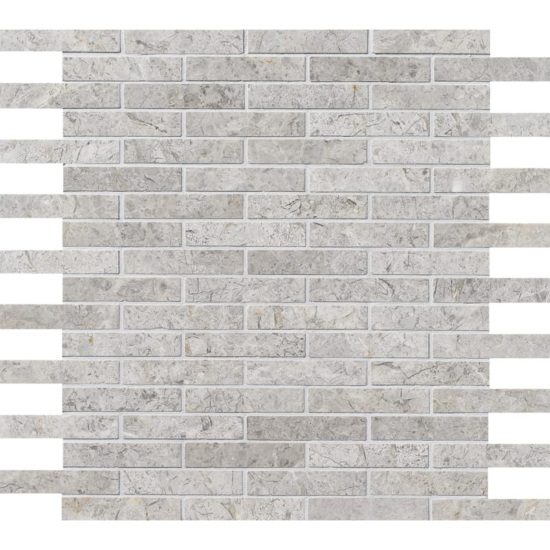 Silver Shadow Honed 12x12 5/8x3 Marble Mosaics