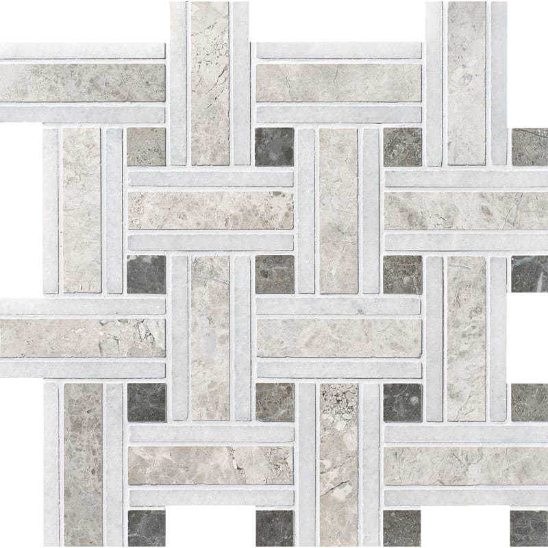 Silver Shadow Honed Lattice Marble Mosaics 12x12