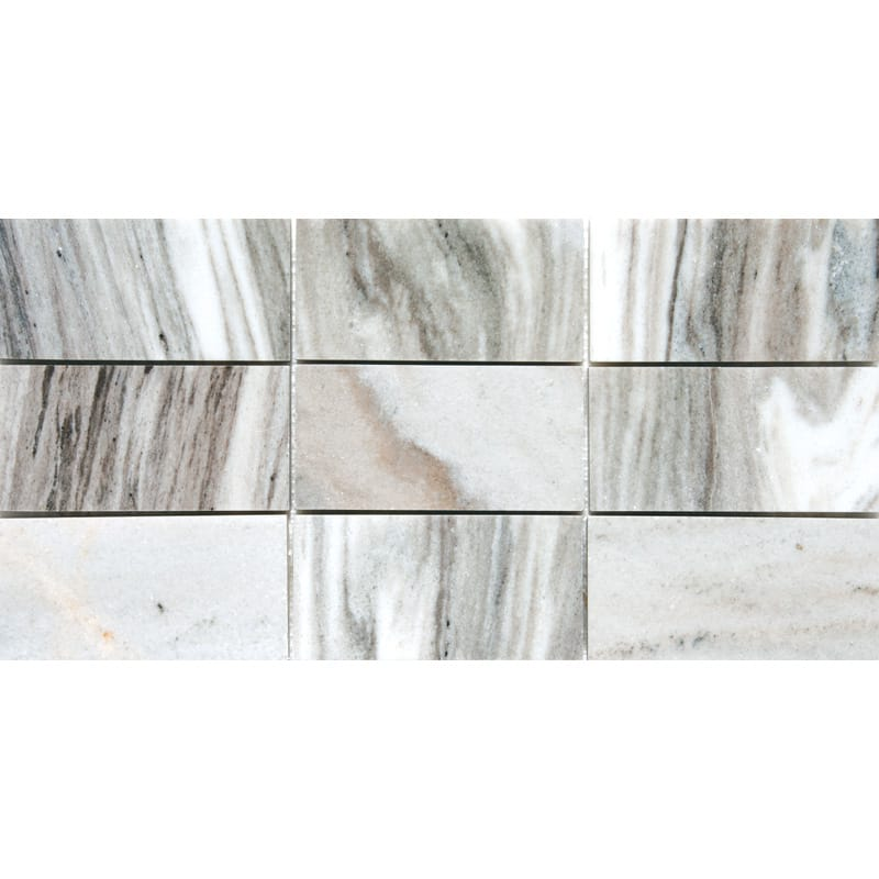 Verona Polished Subway On Mesh Marble Mosaics 8 7/16x16 11/16