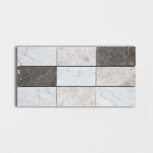 Massa Honed Subway On Mesh 2 3/4x5 1/2 Marble Mosaics 8 1/2x16 3/4