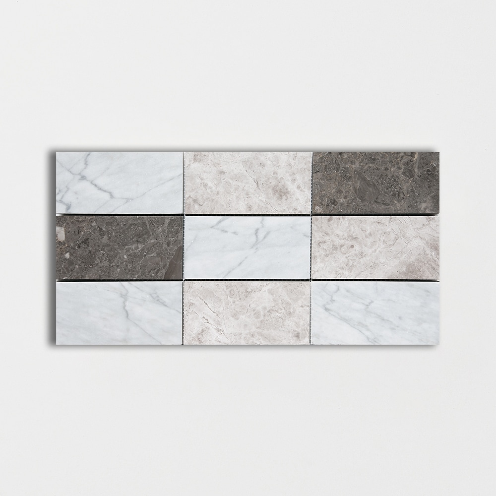 Massa Honed Subway On Mesh Marble Mosaics 8 7/16x16 11/16