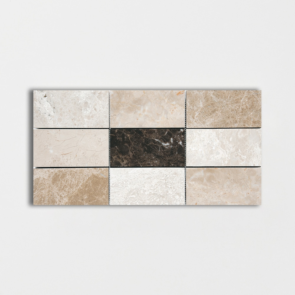 Milano Dark Polished Subway On Mesh Marble Mosaics 2 3/4x5 1/2
