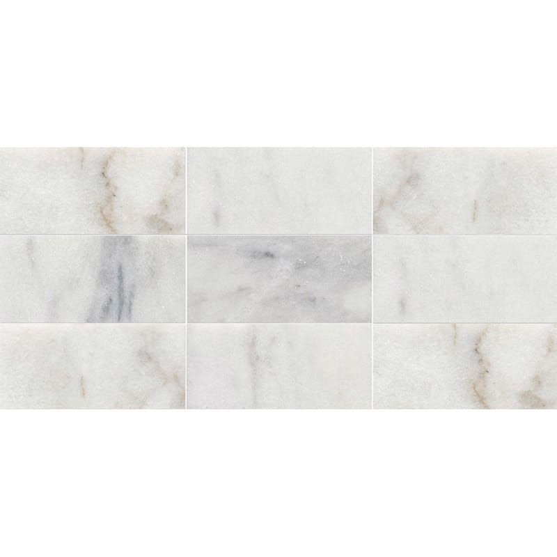 Avalon Polished 8 7/16x16 11/16 Subway On Mesh Marble Mosaics