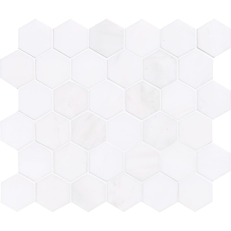 Snow White Polished Hexagon Marble Mosaics 10 3/8x12