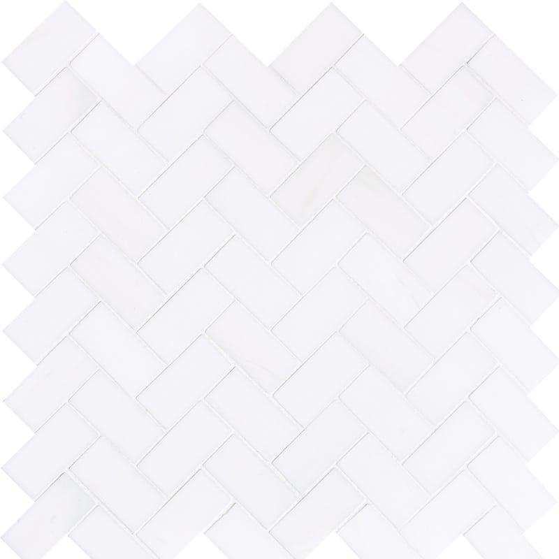 Snow White Polished 12 1/8x13 3/8 Herringbone Marble Mosaics