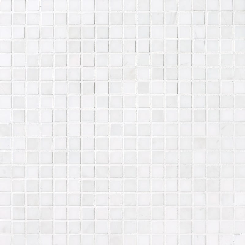 Snow White Polished 12x12 5/8x5/8 Marble Mosaics