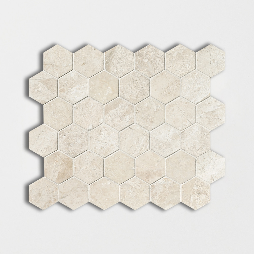 Diana Royal Honed Hexagon Marble Mosaics 10 3/8x12
