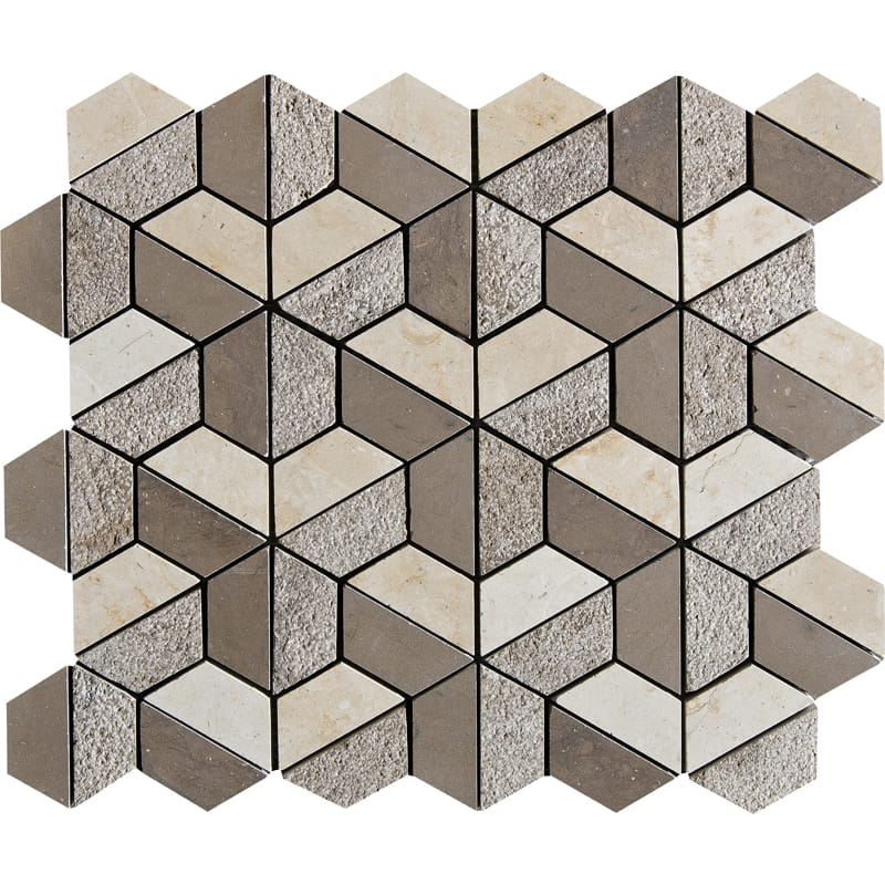 Auberge&heartsmere Textured 10 3/8 X 12 3/8 Hexagon Marble Mosaics