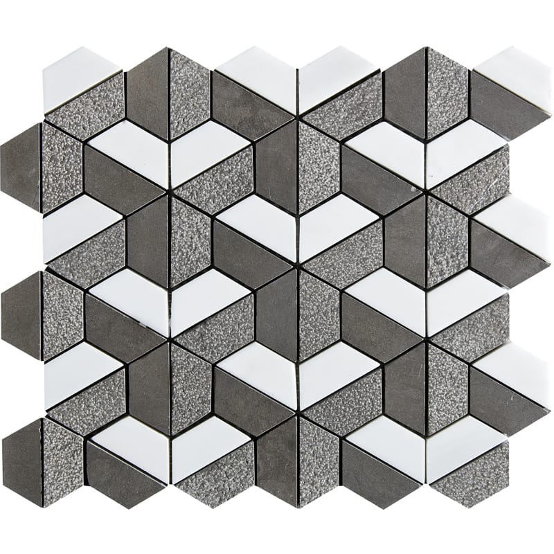 Bosphorus&show Whi Textured Hexagon Limestone Mosaics 10 3/8 X 12 3/8