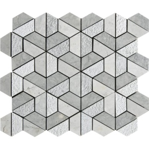 Britannia Blend Textured 3d Hexagon Marble Mosaics 10 3/8x12