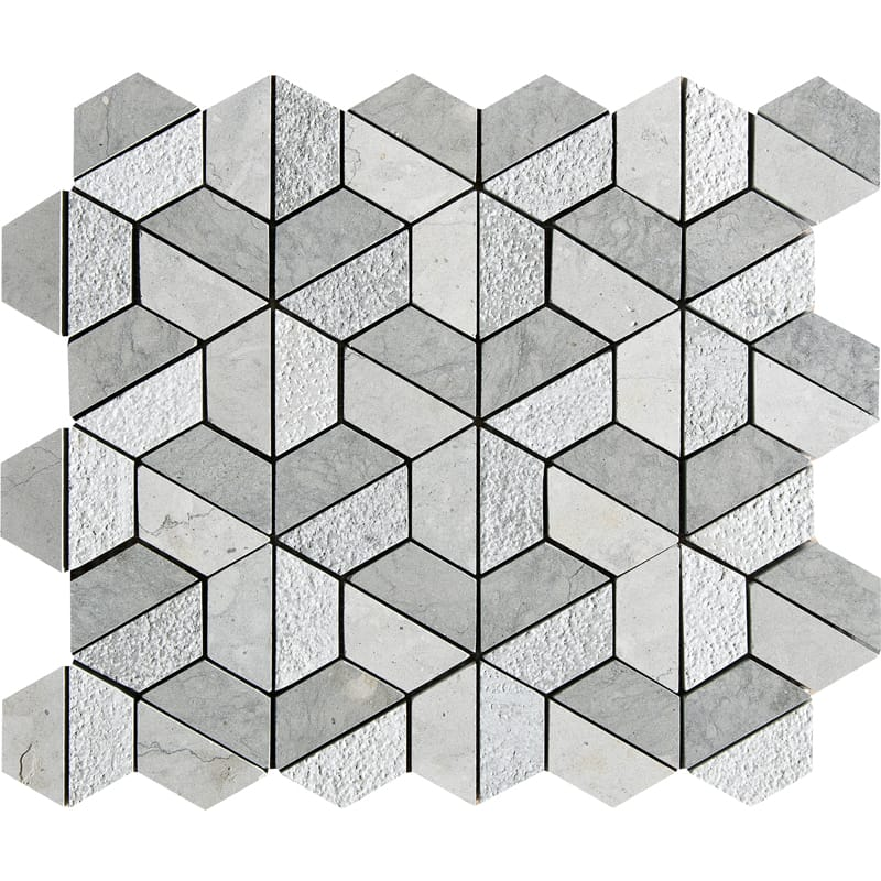 Britannia Blend Textured Hexagon Limestone Mosaics 10 3/8 X 12 3/8