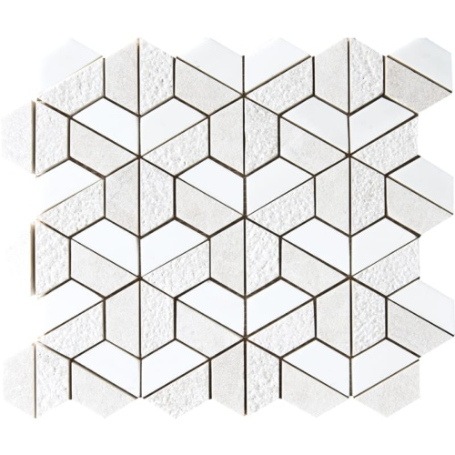 Diana Royal&snow White Textured 3d Hexagon Marble Mosaics 10 3/8×12
