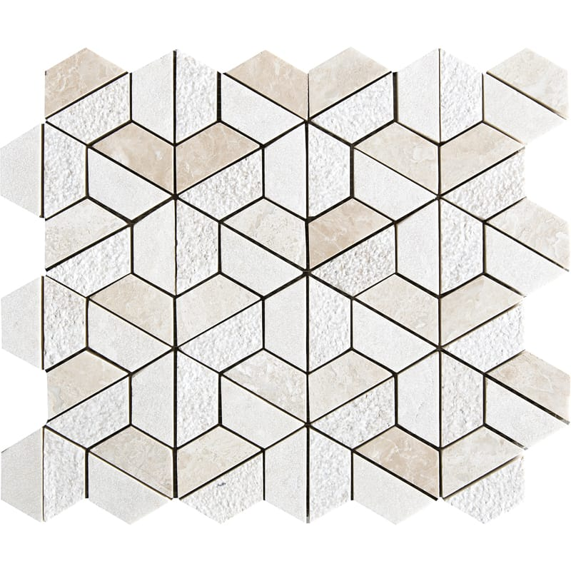 Diana Royal Textured Hexagon Marble Mosaics 10 3/8 X 12 3/8