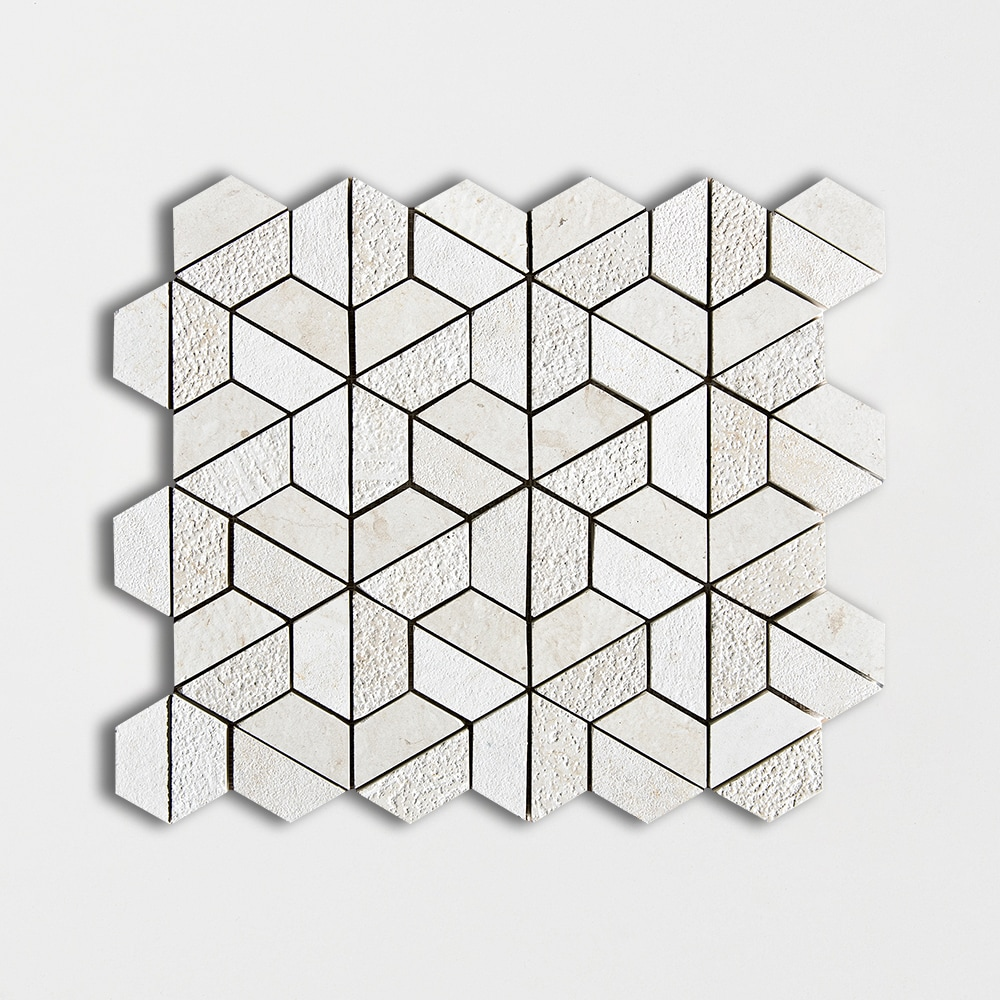 Heartsmere Textured Hexagon Limestone Mosaics 10 3/8 X 12 3/8