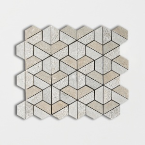 Olive Green Textured Hexagon Limestone Mosaics 10 3/8 X 12 3/8