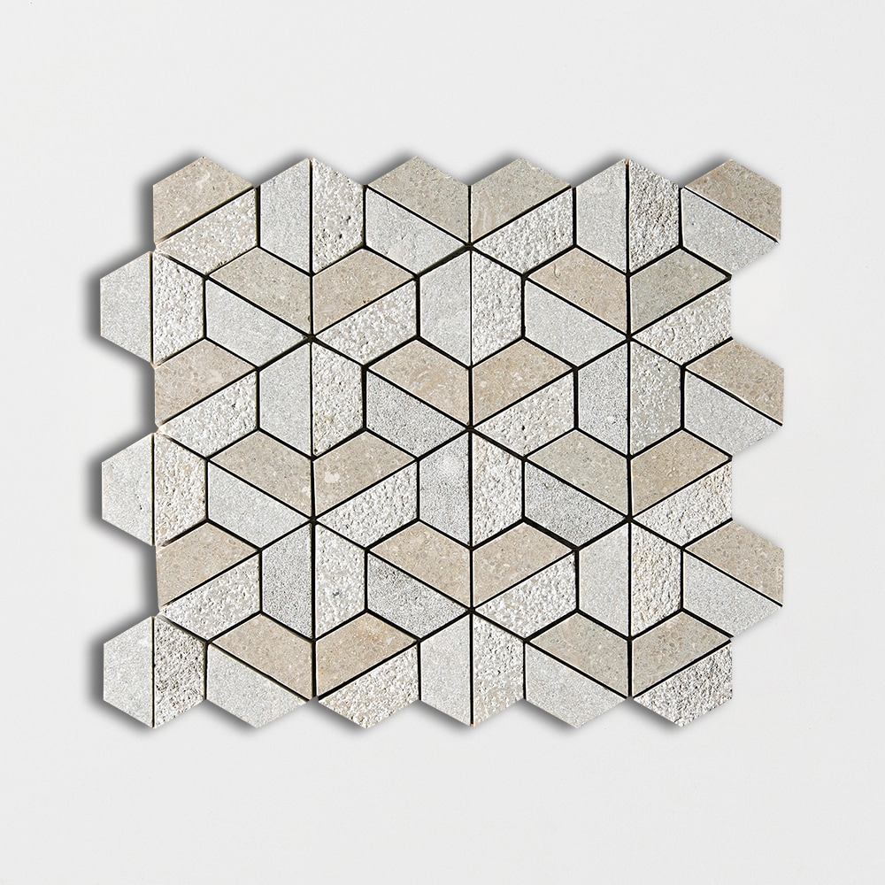 Olive Green Textured Hexagon Marble Mosaics 10 3/8 X 12 3/8