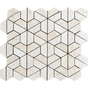 Seashell Textured 3d Hexagon Limestone Mosaics 10 3/8x12