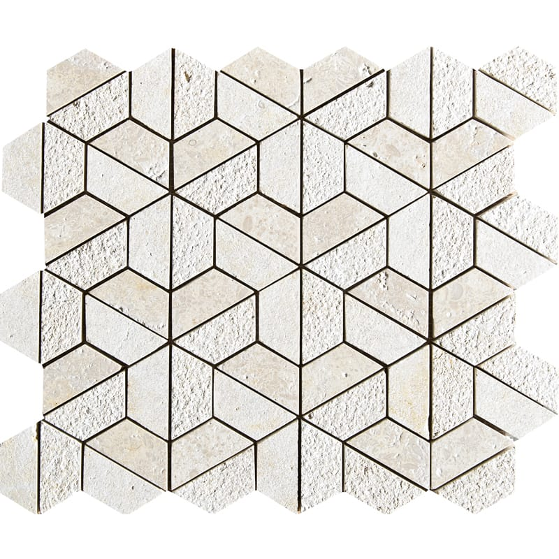 Seashell Textured Hexagon Limestone Mosaics 10 3/8 X 12 3/8