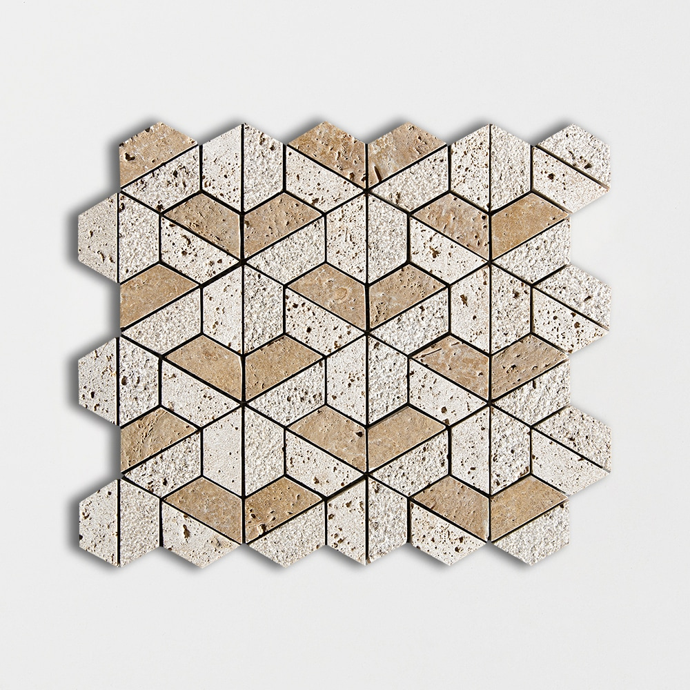 Walnut Dark Textured 10 3/8 X 12 3/8 Hexagon Travertine Mosaics