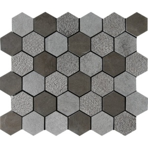 Bosphorus Textured Hexagon Limestone Mosaics 10 3/8x12