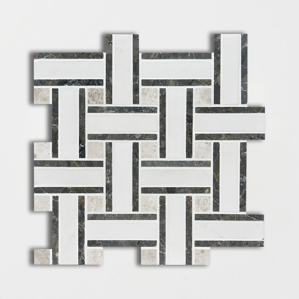 Aspen White Honed 12x12 Lattice Marble Mosaics