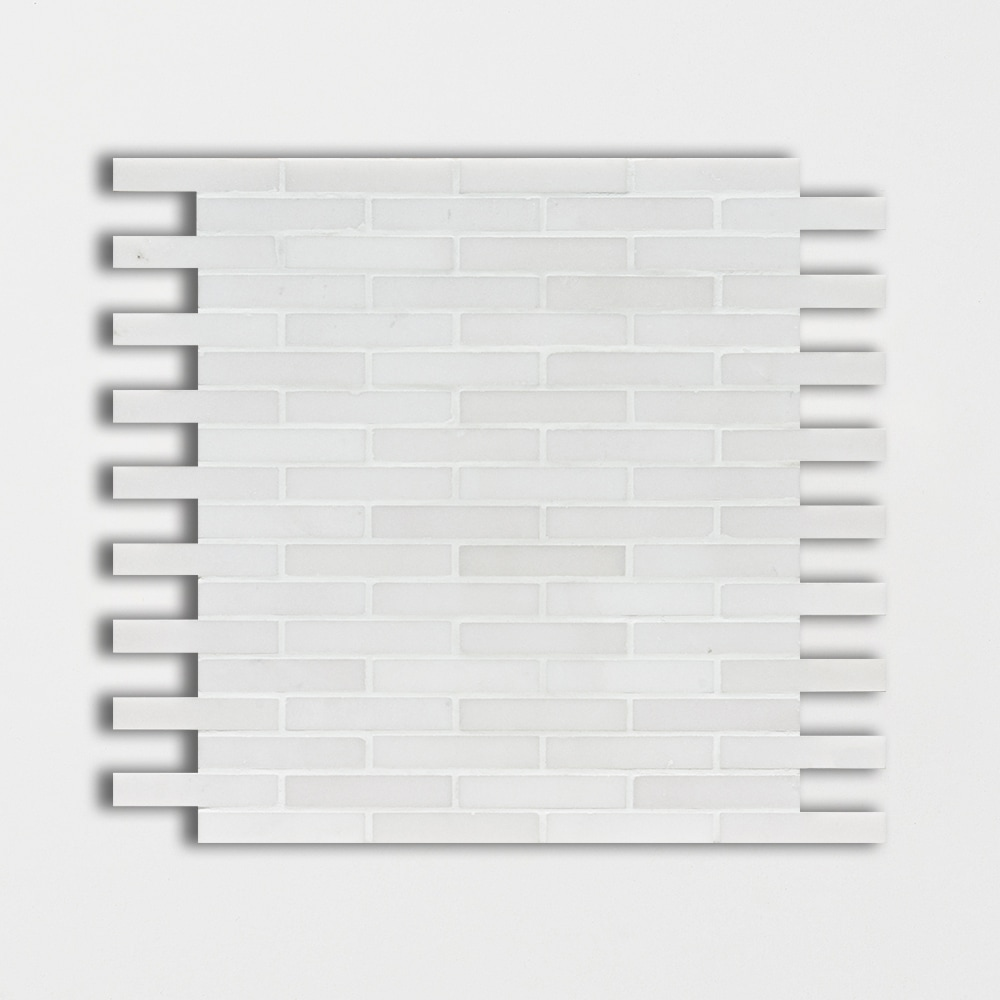 Aspen White Honed 12x12 5/8x3 Marble Mosaics
