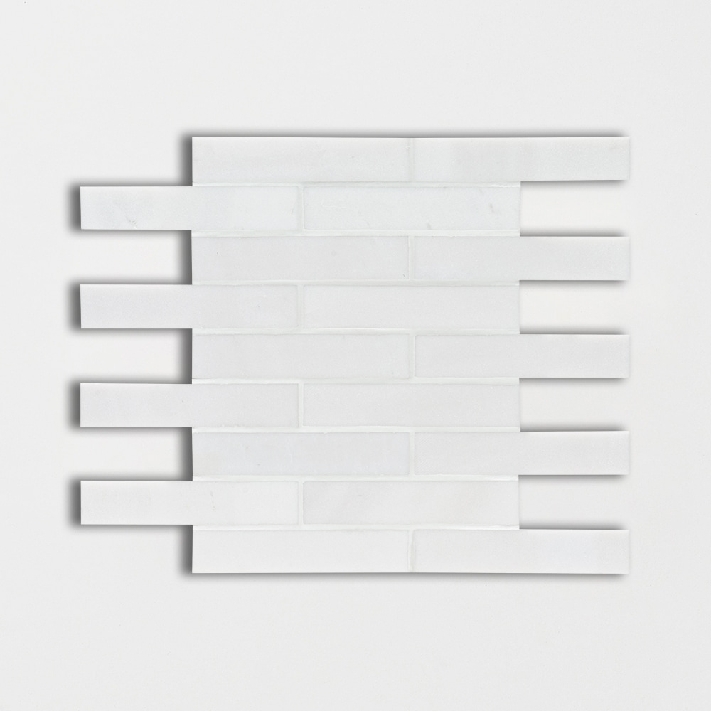 Aspen White Honed 12x12 1 1/4 X 6 Marble Mosaics