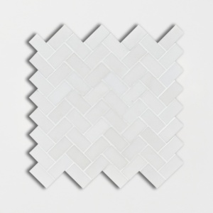 Aspen White Honed Herringbone Marble Mosaics 12 1/8x13 3/8