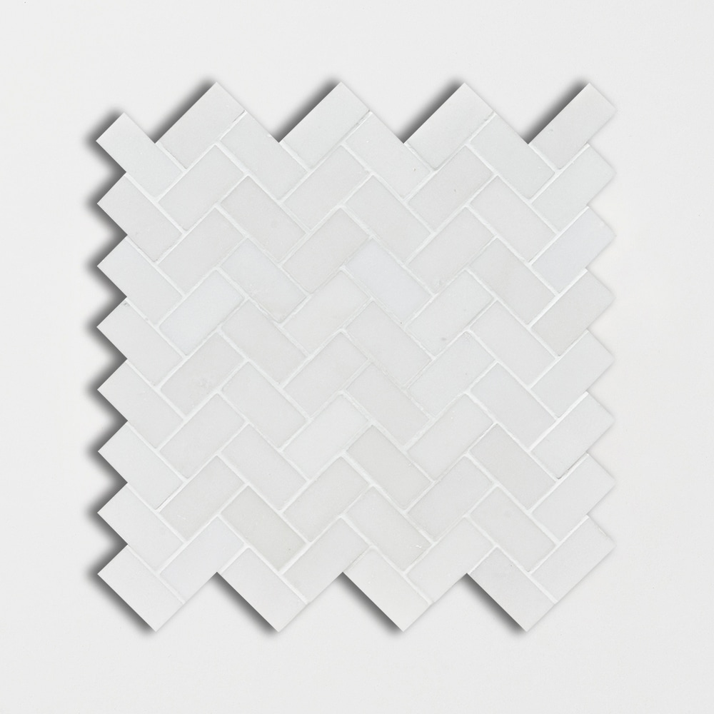 Aspen White Honed 12x12 Herringbone Marble Mosaics
