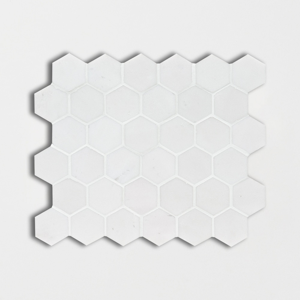 Aspen White Honed 12x12 Hexagon Marble Mosaics
