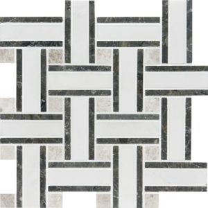Aspen White Polished Lattice Marble Mosaics 12x12