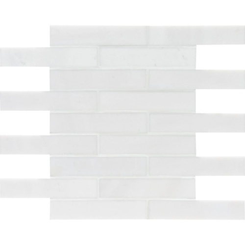 Aspen White Polished 1 1/4×6 Marble Mosaics 12×12