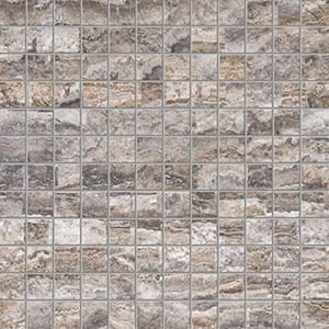 Roman Silver Vein Cut Honed&filled 1x1 Travertine Mosaics 12x12