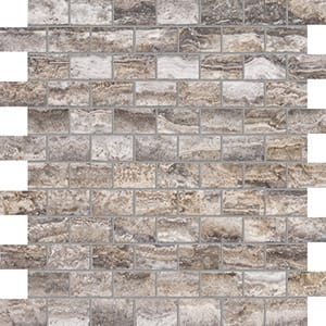 Roman Silver Vein Cut Honed&filled 1x2 Travertine Mosaics 12x12