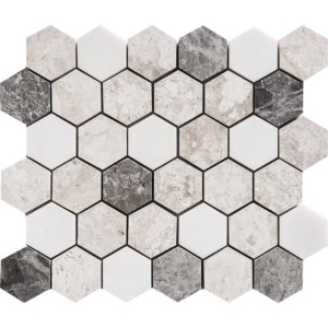 Granada Polished Hexagon Marble Mosaics 10 3/8x12