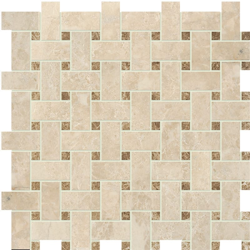 Cappuccino Polished Basket Weave Marble Mosaics 12x12