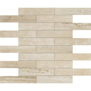 Ivory Vein Cut Honed&filled 1 1/4x6 Travertine Mosaics 12x12