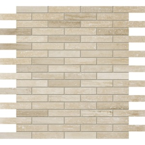 Ivory Vein Cut Honed&filled 5/8x3 Travertine Mosaics 12x12