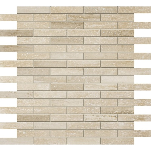 Ivory Vein Cut Honed&filled 5/8×3 Travertine Mosaics 12×12