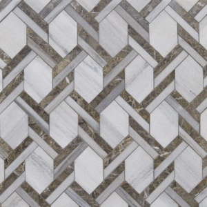 Skyline, Silver Drop Multi Finish Braided Hexagon Marble Mosaics 9 11/16x16 7/16