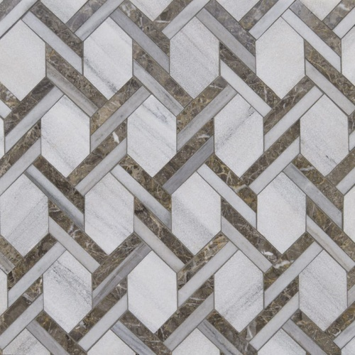 Skyline, Silver Drop Multi Finish Braided Hexagon Marble Mosaics 9 11/16×16 7/16