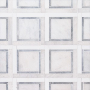 Glacier, Snow White, Allure Multi Finish Cambridge Marble Mosaics 12 7/8x12 7/8