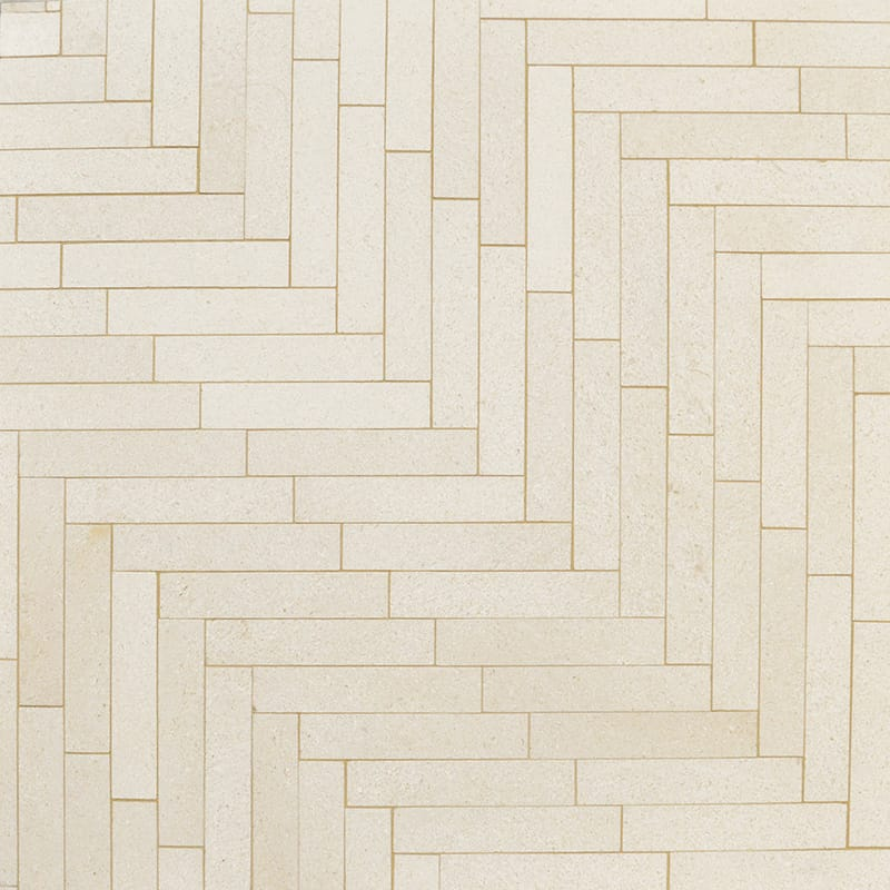 Honed Large Herringbone Marble Mosaics